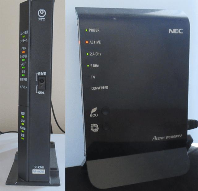 PR-400NEとPA-WG1800HP2