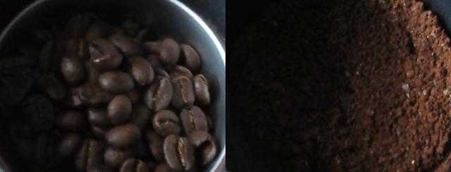 コーヒーミルで挽いた豆