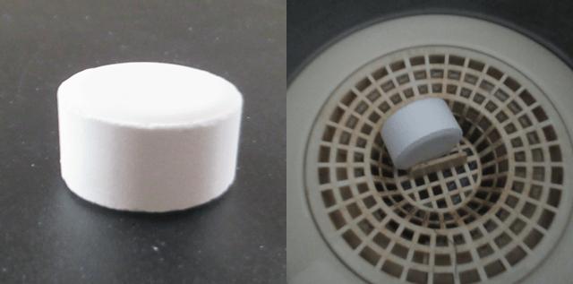 お風呂の排水溝キレイの本体と使用状態