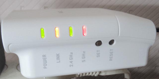 無線LAN中継機 PA-W1200EX の点灯